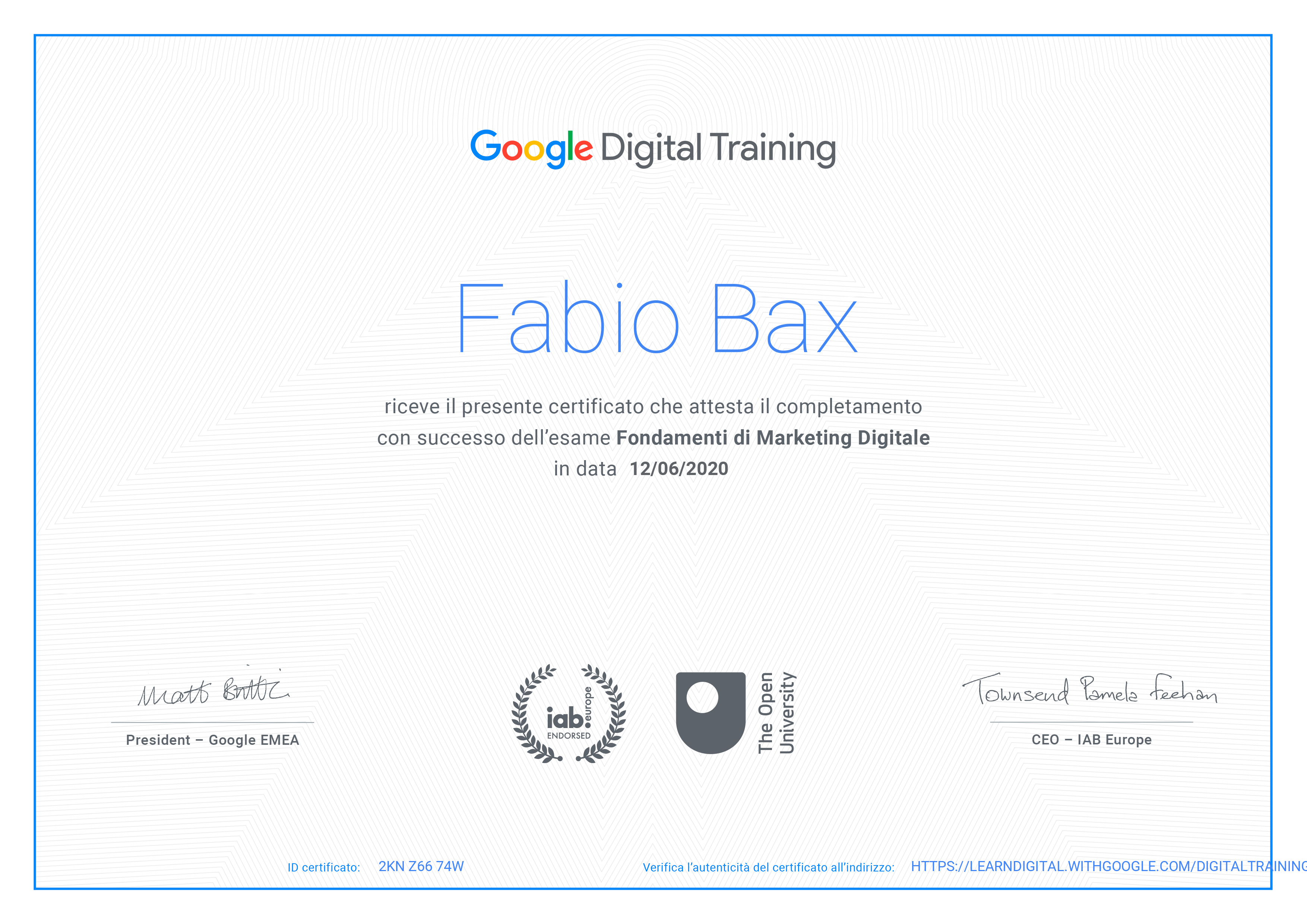 Certificazione Google Digital Training